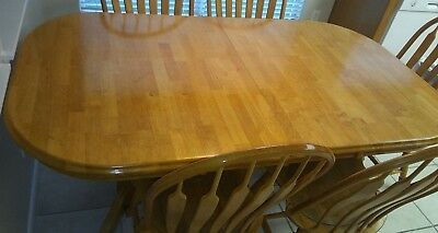 6pc oval dining room set table + 5 wood chairs in light oak. Solid wood!