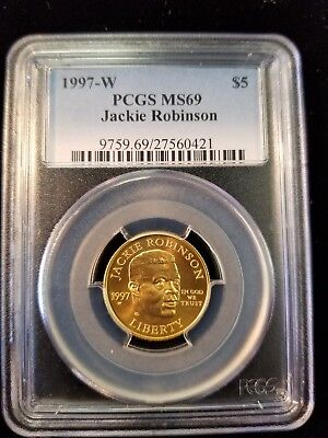 1997 W Jackie Robinson Gold $5 Commemorative Pcgs Ms 69 Low Mintage