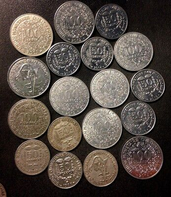 Old French West Africa Coin Lot - 18 Excellent Uncommon Coins - Lot #A16
