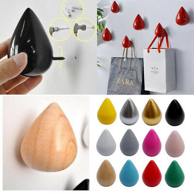 Colorful Water Drop Design Hooks Wooden Wall Hangers Home Decor Coat Hat Holder
