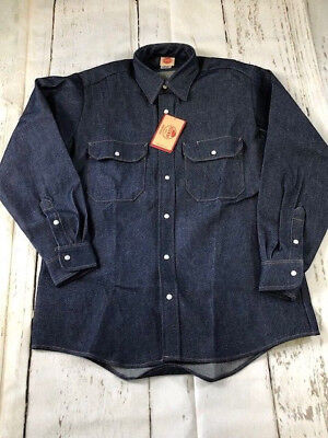 NEW Red Kap Men's Deluxe Denim Western Work Shirt - Long Sleeve - Uniform SD78DN