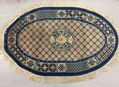 Tapis chinois oval laine (noué main!) Dimensions 156 / 98
