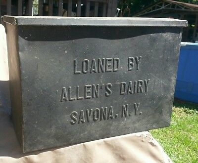 VINTAGE ALLEN'S DAIRY SAVONA, NY GALVANIZED ADVERTISING PORCH MILK BOX 1950's