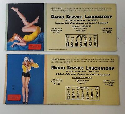 Antique Radio ink blotters Aug and Nov.1944, NH & ME, Motorola, girlie pin up