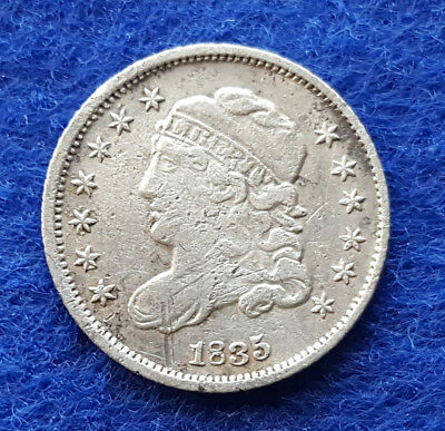 1835 Capped Bust Silver Half Dime, 5 Cent US. Pa Mint Small Date - Small 5