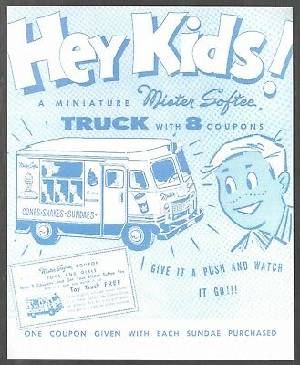 vintage MISTER SOFTEE ICE CREAM MINIATURE TRUCK coupon sign 1950s old NOS MINT