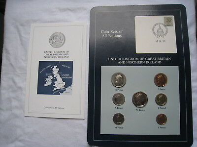 Coin Sets of All Nations GREAT BRITAIN NORTHERN IRELAND 1985 7 Coin + Info Card