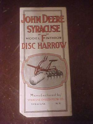 "1917 John deere Syracuse Model ""F"" Disc Harrow 4 Page Brochure"