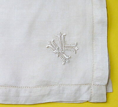"""Antique Pure Silk 21"""" Large Monogrammed Handkerchief Embroidery Letter K"""