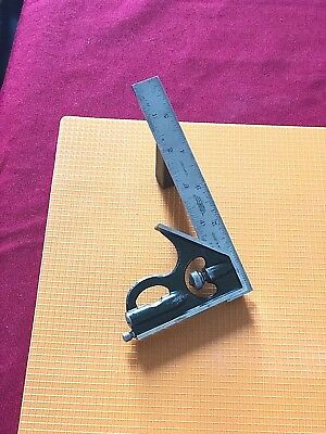 LUFKIN RULE CO. 6 Inch Long Blade Combination Square With Steel Square Head. USA