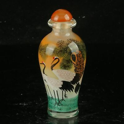 Chinese Glaze Hand Drawed Inside Painting Pine & Crane Snuff Bottle MY0405