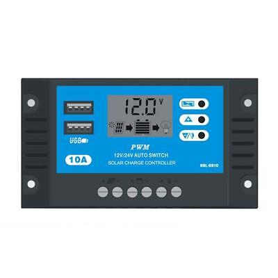 10A 12V 24V LCD Display PWM Solar Charge Controller Dual USB Panel Charger CR 01