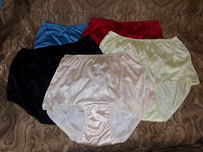Soft Nylon Panties Lot of 5 size 10 (more like a 9)  yellow,red,black,blue,pink