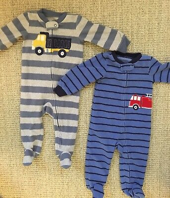 Set Of Two Carter's Fleece 9 Month Footed Pajamas