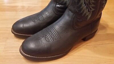 a97e65b5d79 ARIAT HERITAGE STOCKMAN Black Leather Round Toe Cowboy Boots #10009594 Mens  8.5D
