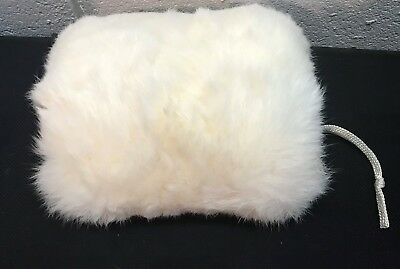 Vintage Child's White Rabbit Fur Muff with Satin lining
