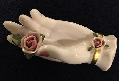 Vtg Lefton China Trinket Jewelry Dish Hand Pink Roses Handpanted Euc Japan