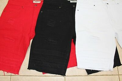 Big men's Akademiks rip tear distressed cutoff twill jean shorts 44 to 54