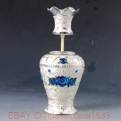 Chinese Cloisonne Handwork Carved Vase Shape Toothpick Box MY0179