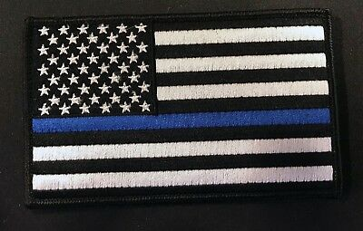 "Large 5"" X 3"" US American Flag Patch (Police) Hook and Look Backing - Blue Line"