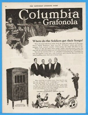 1918 Columbia Grafonola Graphophone Phonograph WWI Soldiers Black Face Music Ad