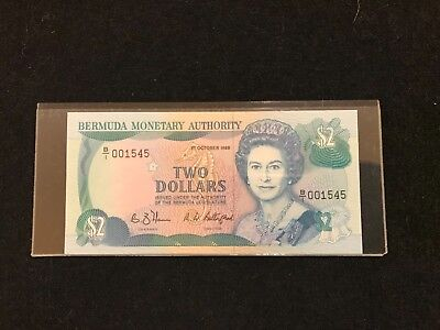 Bermuda   vintage $2 1988 Paper Money GEM Uncirculated