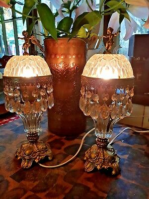 Pair Of Antique Brass Chandeleir Lamps Paris Victorian