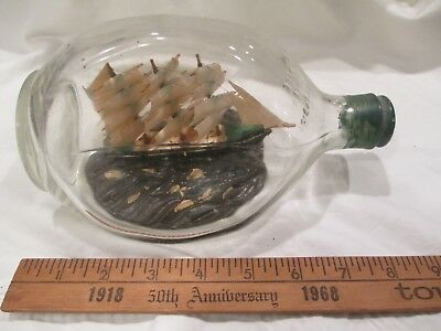 early 20th century Ship in a Bottle pinch Haig & Haig 3 Masted Schooner