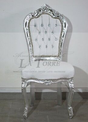 Armchair baroque antique chair still LOUIS XV WOOD silver eco leather white