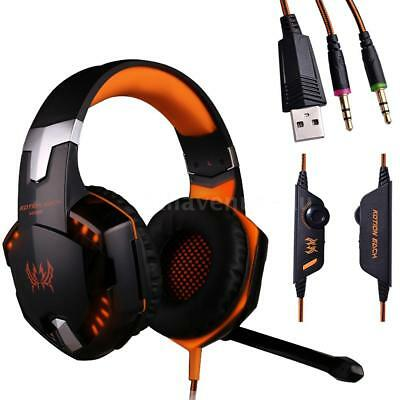 G2000 Stereo Bass Gaming Headset Headphone Headband with Mic for PC Laptop Y8K7