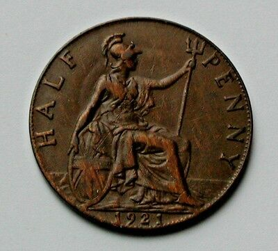 1921 UK (British) George V Coin - Half Penny (1/2d) - lustrous brown
