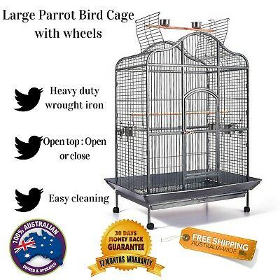 Large Bird Parrot Aviary Cage with Wheels Open Roof Top Gym Play Budgie New