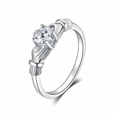JewelryPalace 0.7ct Irish Celtic Claddagh Sona Diamond Ring 925 Sterling Silver
