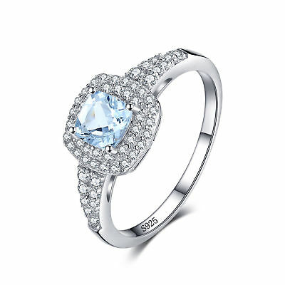 JewelryPalace 0.9ct Natural Aquamarine Halo Engagement Ring 925 Sterling Silver