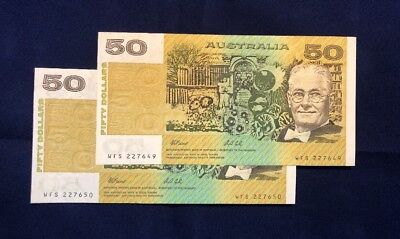 2x Consecutive 1991 $50 Fraser Cole Banknotes UNCIRCULATED