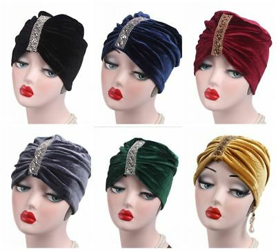 Muslim Womens Velet Rhinestone Caps Islamic Arab Inner Turban Chemo Headwear New