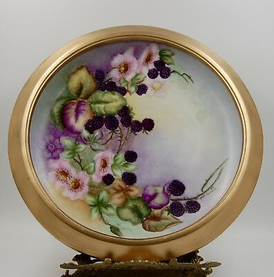 Antique Limoges Berries  Hand Painted Framed Plaque Tray Charger