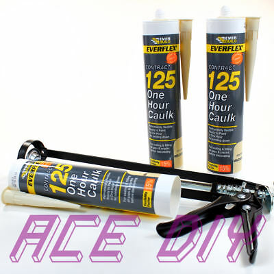 3 Pack of Magnolia Everbuild 125 One Hour Caulk WITH Gun C3 Fast Drying Filler