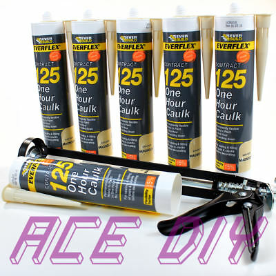 6 Pack of Magnolia Everbuild 125 One Hour Caulk WITH Gun C3 Fast Drying Filler