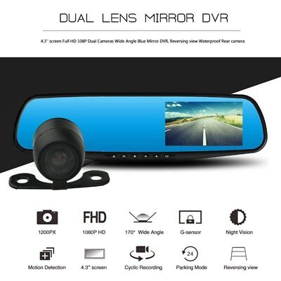 4.3'' HD 1080P Dual Lens Car DVR Rearview Mirror Dash Cam Recorder Camera Kit