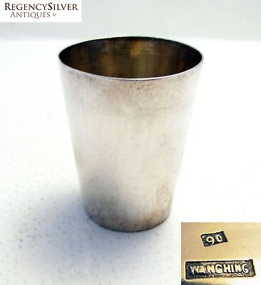 ANTIQUE Chinese Export Solid Sterling Silver Shot Glass Tot Cup Beaker WANG HING