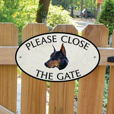 Doberman Pinscher Please Close The Gate Sign, Dog Gate Plaque, Sign Stone Style