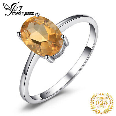 JewelryPalace Genuine Citrine Solitaire Ring Oval Solid 925 Sterling Silver