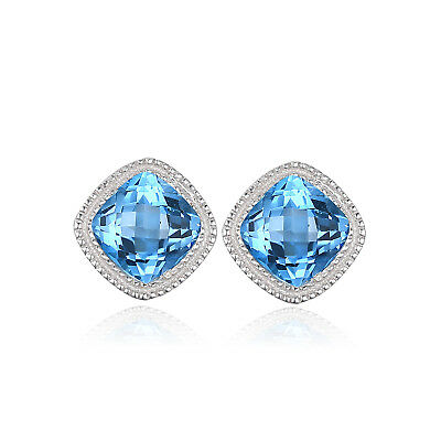 JewelryPalace Classical 1.43ct Genuine Swiss Blue Topaz Stud Earrings 925 Silver