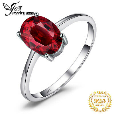 1.6ct Genuine Garnet Solitaire Ring Solid 925 Sterling Silver Women Fashion