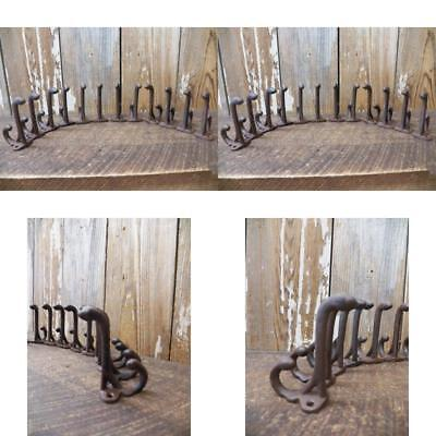 Lot/Set Of 12 Wonderful Rustic Cast Iron Coat Hat Hooks Vintage Styling
