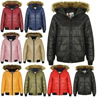 Boys Girls Jackets Kids Maya Faux Fur Hooded Padded Puffer Bubble Coats 5-13 Yrs