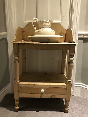 Victorian pine wash stand complete with washbowl and jug