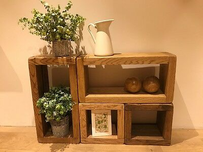"Solid Oak Modular Rustic Shelving Cubes Chunky Units Free Standing 12"" deep"