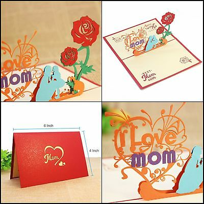 Mothers Day Beautiful 3d Pop Up Greeting Card Gift For Mom Mothers
